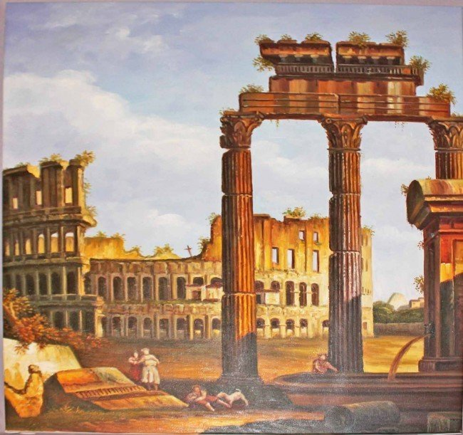 115: Oil Painting of Roman Ruins