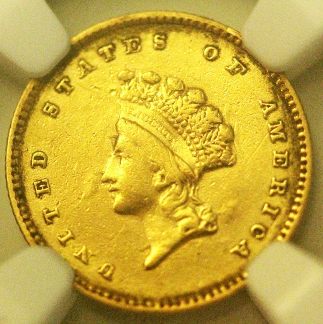 17: 1854 G$1 Gold Indian Head Type 2 XF Details