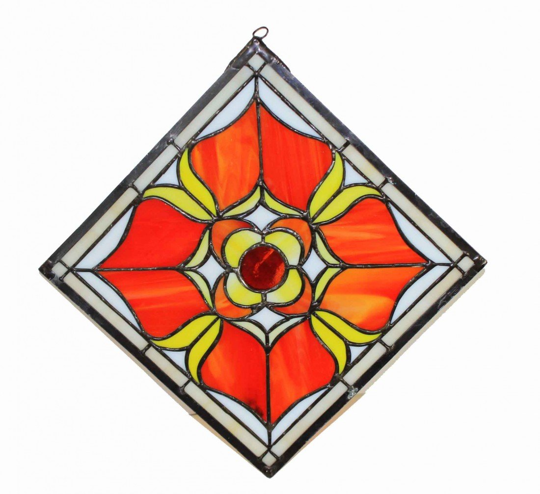8: Floral Stained Glass Square