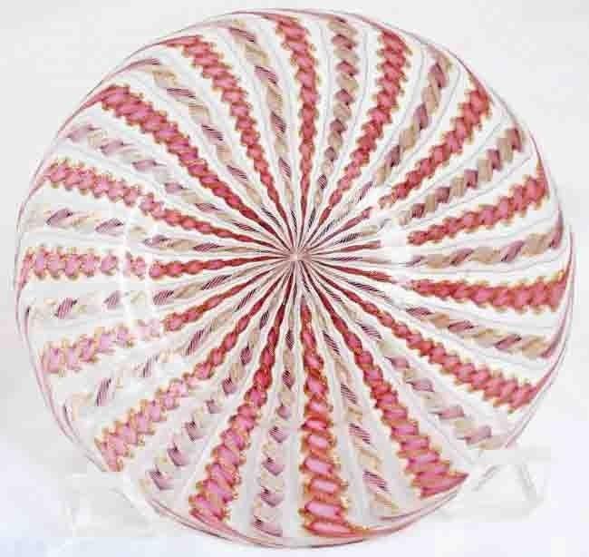 15: Murano Art Glass Laitticino Plate