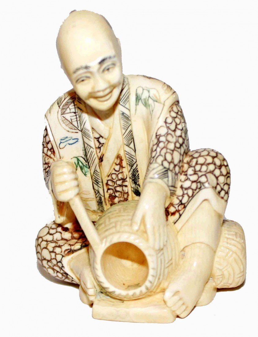 21: Signed Japanese Ivory Okimono of Basketmaker