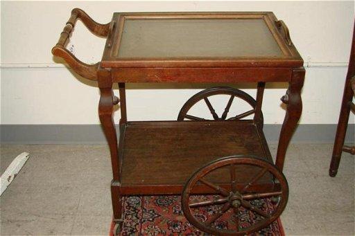541 Antique Wooden Tea Cart With A Glass Lift Top Serv