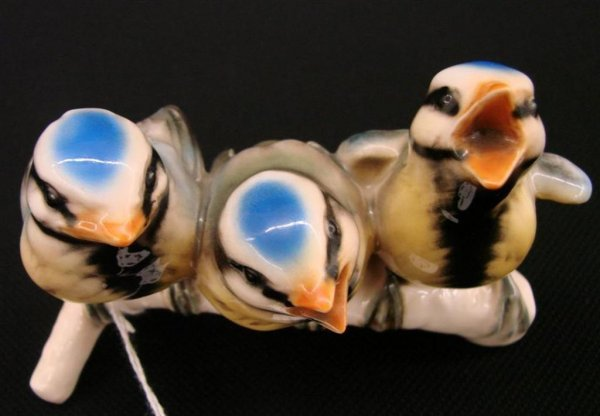 3: Signed Goebel Bird Figurine Depicting Three Titmouse
