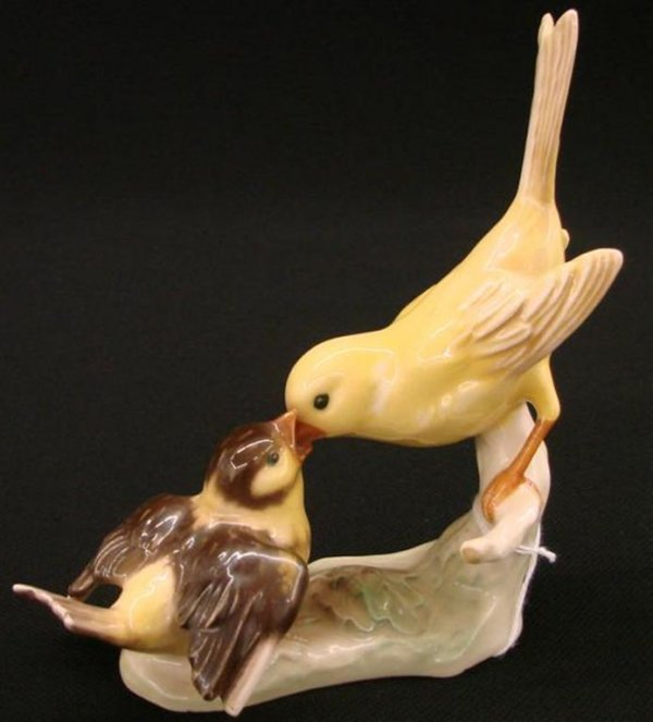 4: Signed Goebel Bird Figurine of a Canary Feeding Chic