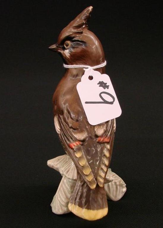 "9: Signed Goebel Bird Figurine on a Branch, TM 4, 6.5"""