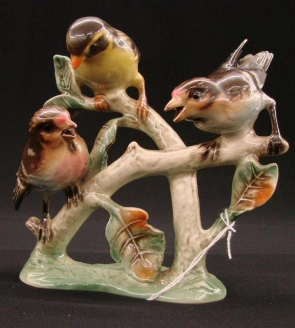12: Signed Goebel Bird Figurine of 3 Birds on a Branch