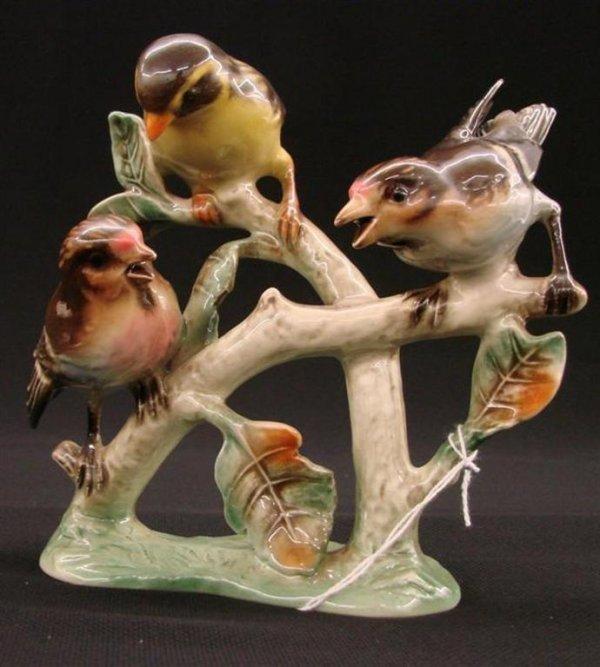 12: Signed Goebel Bird Figurine of 3 Birds on a Branch