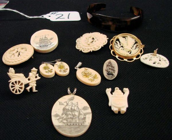 21: 12pcs  Antique & Vintage Ivory & Scrimshaw Jewelry