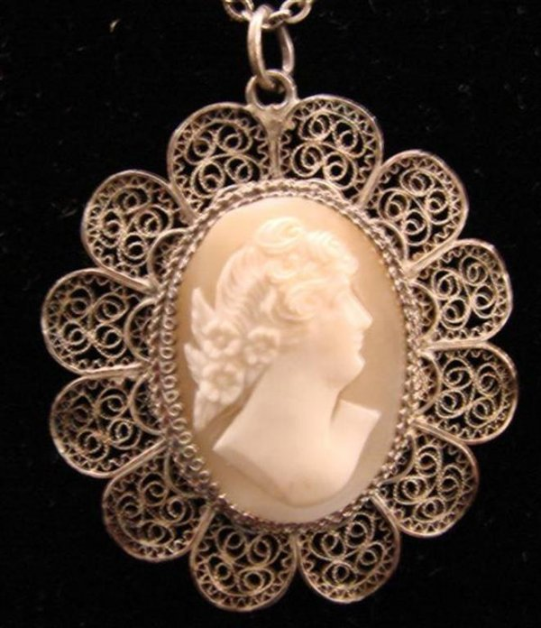23: Antique 800 Silver Filigree Shell Cameo Pendant