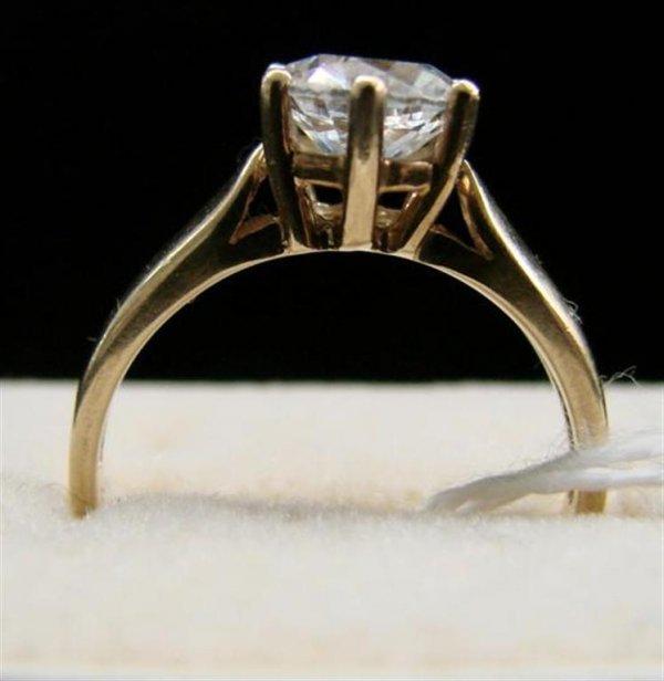24: 10K Yellow Gold 2K CZ Diamonte Ladies Ring Sz7