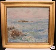 108: Oil on Canvas Painting of a Seascape with Rocky Co
