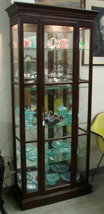 268: Ethan Allen Contemporary Lighted Curio Cabinet