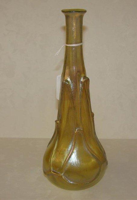 395: Antique Unsigned Loetz Art Glass Bottle Form Vase