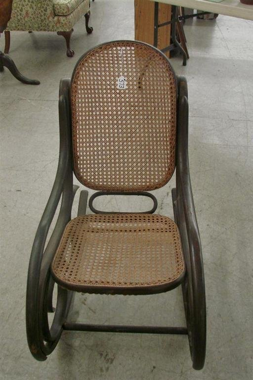 573: Antique Cane-Seat  & Back, Bentwood Rocking Chair