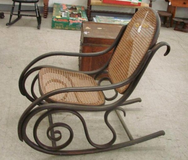 573: Antique Cane-Seat  & Back, Bentwood Rocking Chair - 2