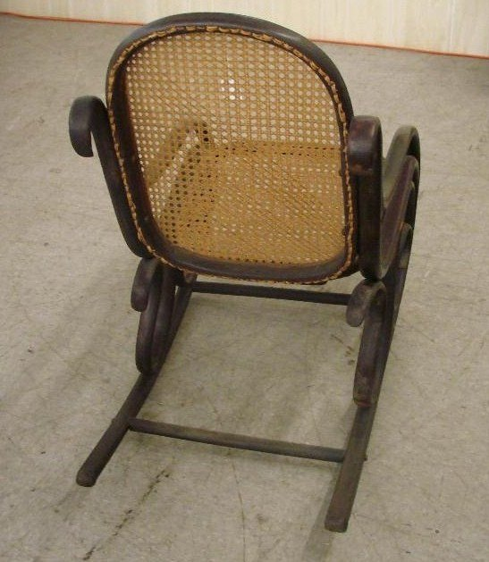 573: Antique Cane-Seat  & Back, Bentwood Rocking Chair - 3