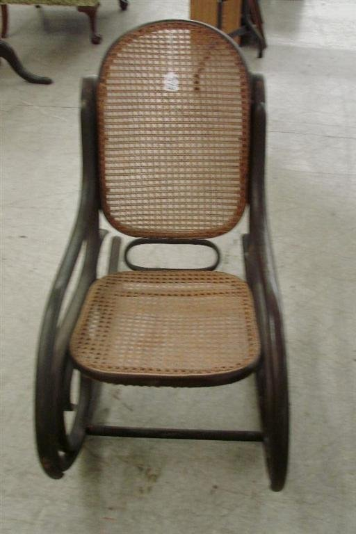 573: Antique Cane-Seat  & Back, Bentwood Rocking Chair - 4