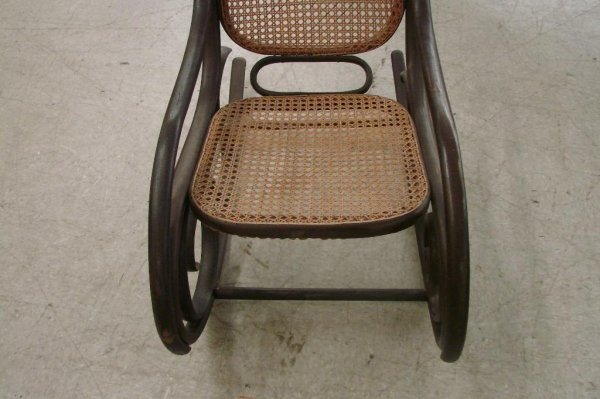 573: Antique Cane-Seat  & Back, Bentwood Rocking Chair - 5
