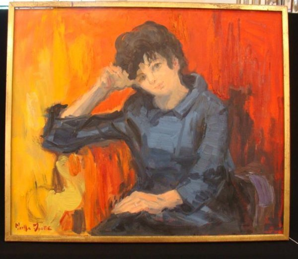 362: Martha Moore O/C Portrait Painting – Lady in Blue