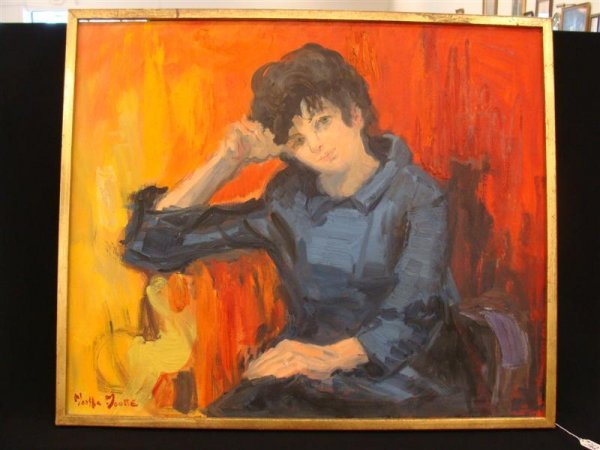 362: Martha Moore O/C Portrait Painting – Lady in Blue  - 2