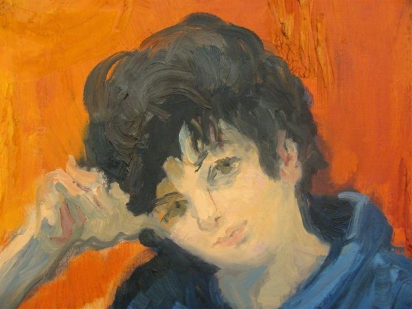 362: Martha Moore O/C Portrait Painting – Lady in Blue  - 5