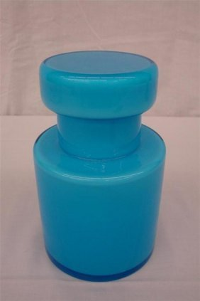 14: Blue Cased Art Glass Apothecary Jar