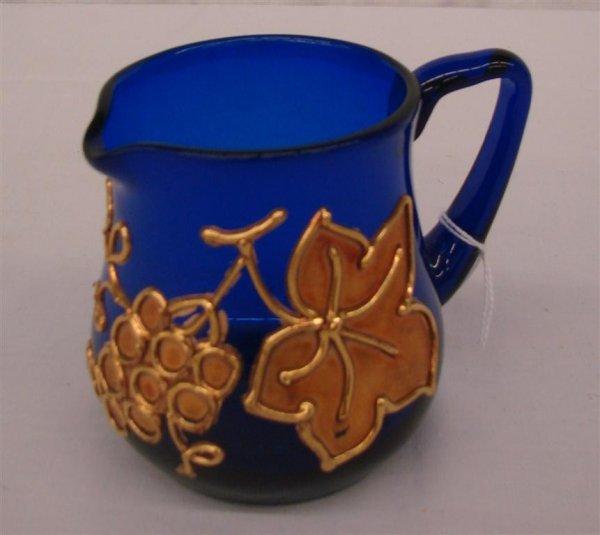 17: Antique Cobalt Blue Art Glass Cream Pitcher
