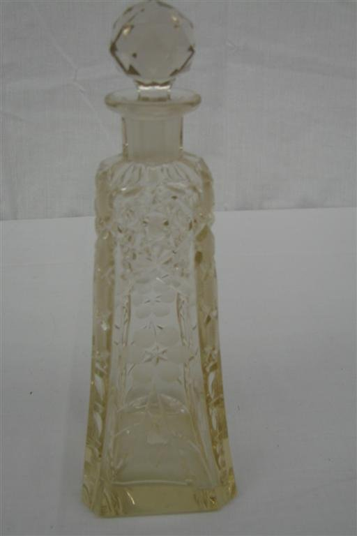 19: Brilliant Period Cut Glass Barber's Bottle with Sto