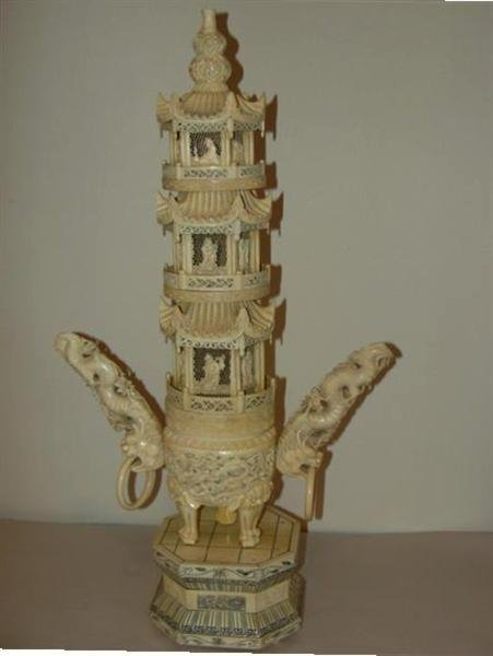 "189: 19th Century 27"" Carved Ivory Pagoda"