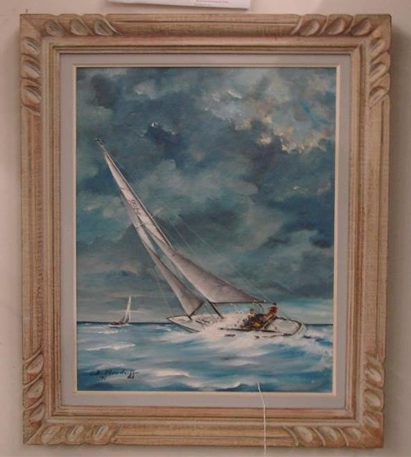 258: Oil on Canvas Board Painting by W. Neudorff. This