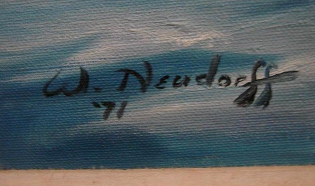 258: Oil on Canvas Board Painting by W. Neudorff. This  - 4