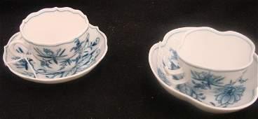 613 2 19c Meissen Blue Onion Demitasse Cups  Saucers