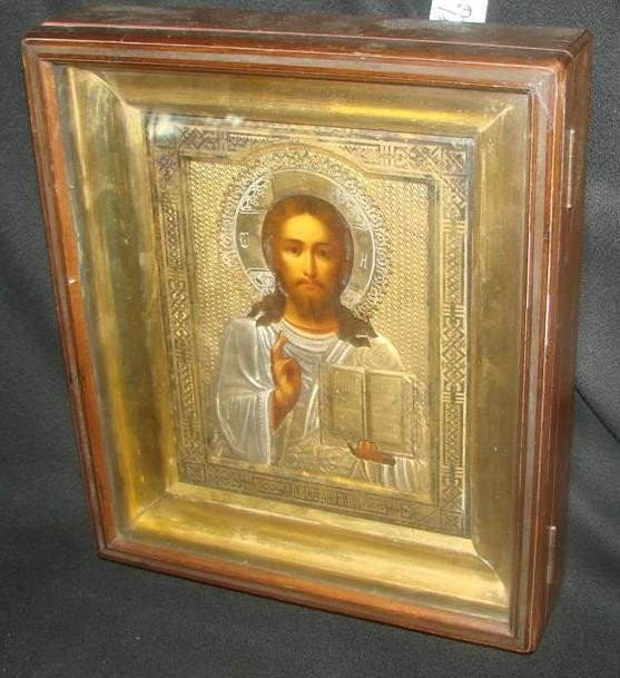 672: 19th c. Russian Icon of Christ in Silver & Gilt Ri