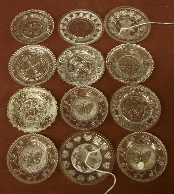 542: 12 Antique Sandwich Glass Cup Plates