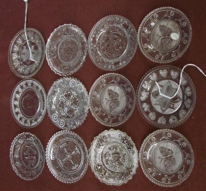 542: 12 Antique Sandwich Glass Cup Plates  - 3