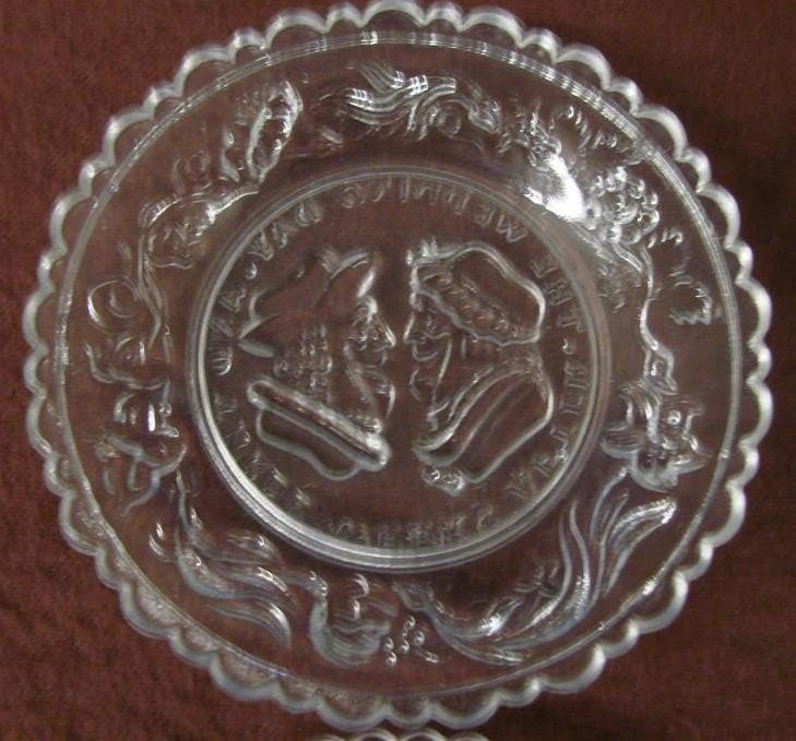 542: 12 Antique Sandwich Glass Cup Plates  - 6