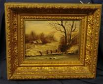 636: Antique 19c S.S Fowler Oil Painting of Winter Land