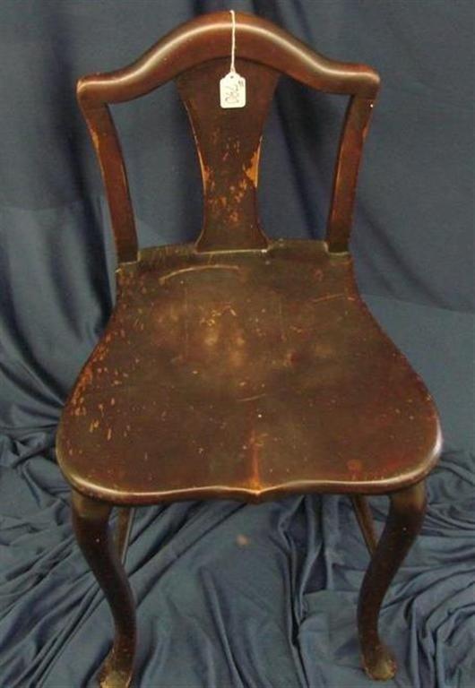 790: Antique Mahogany Vanity Chair - 3