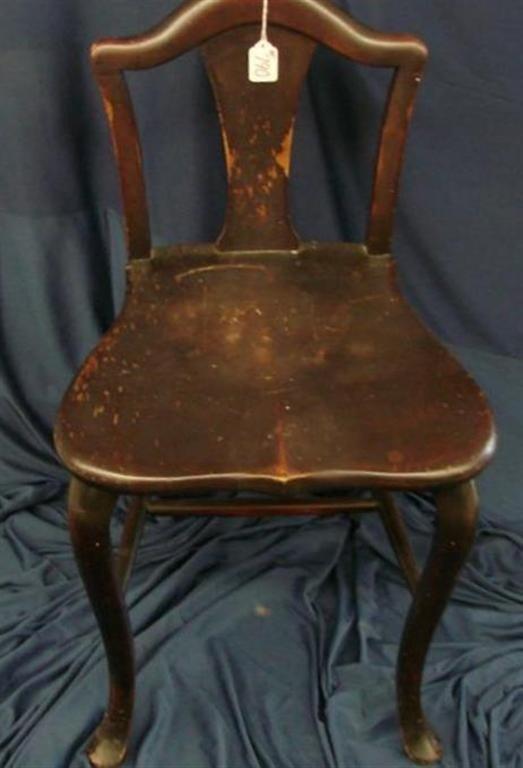790: Antique Mahogany Vanity Chair - 4