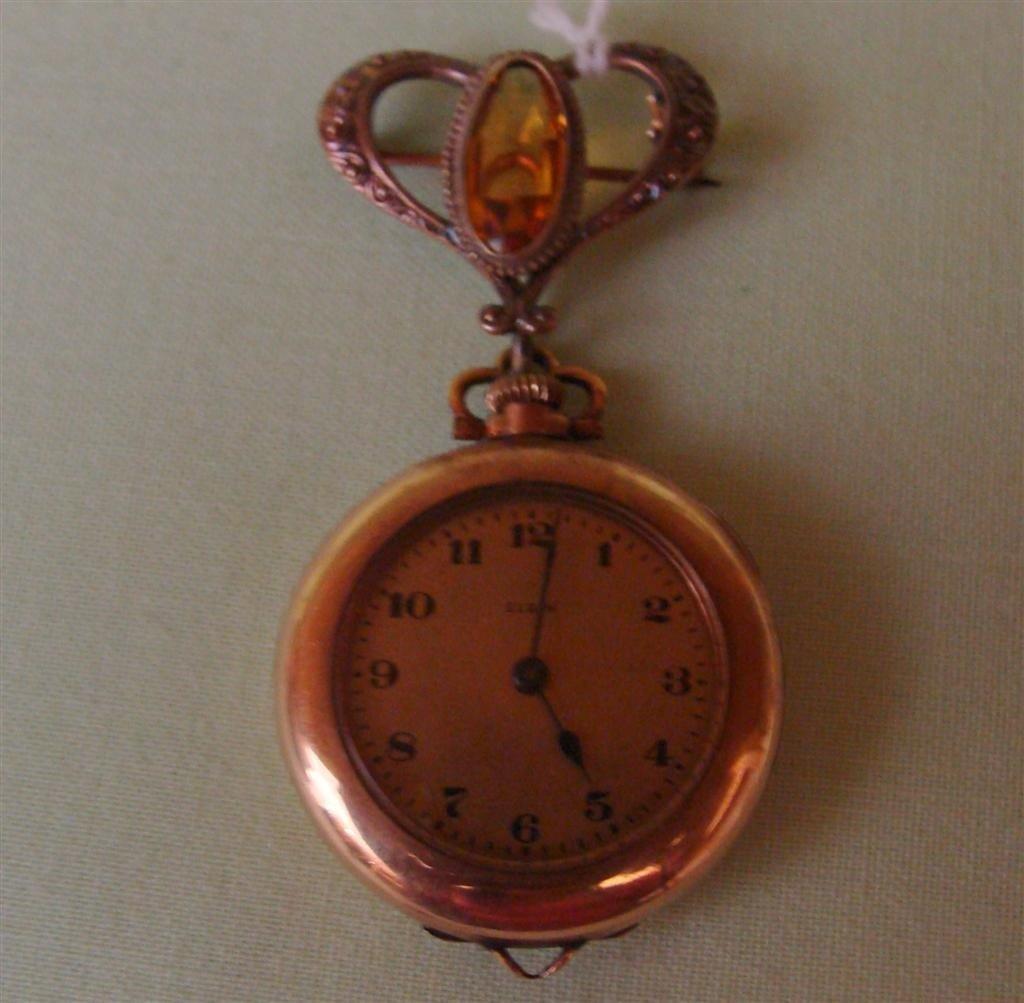 Antique Elgin Ladies Lapel Watch Brooch – wit