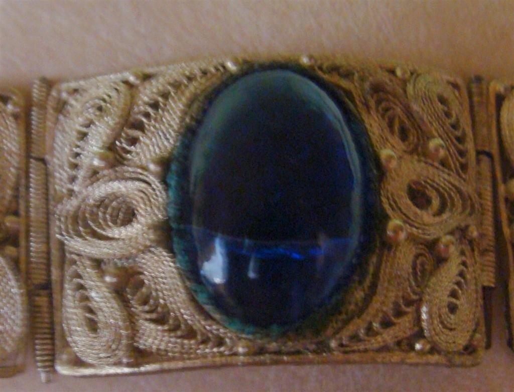Antique 800 Silver & Cabochon Panel Bracelet