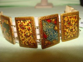 Antique Persian 6in Bracelet Of Hand Painted