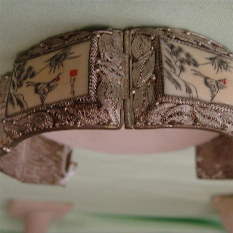 Chinese Hand Painted Ivory & Filigree Bracele