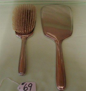 Sterling Silver Hand Mirror & Matching Hair B