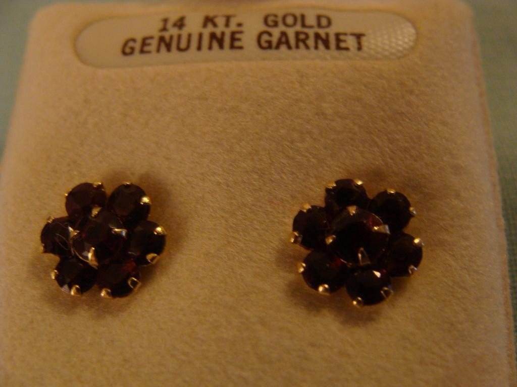 14K Yellow Gold Garnet Pierced Earrings – In