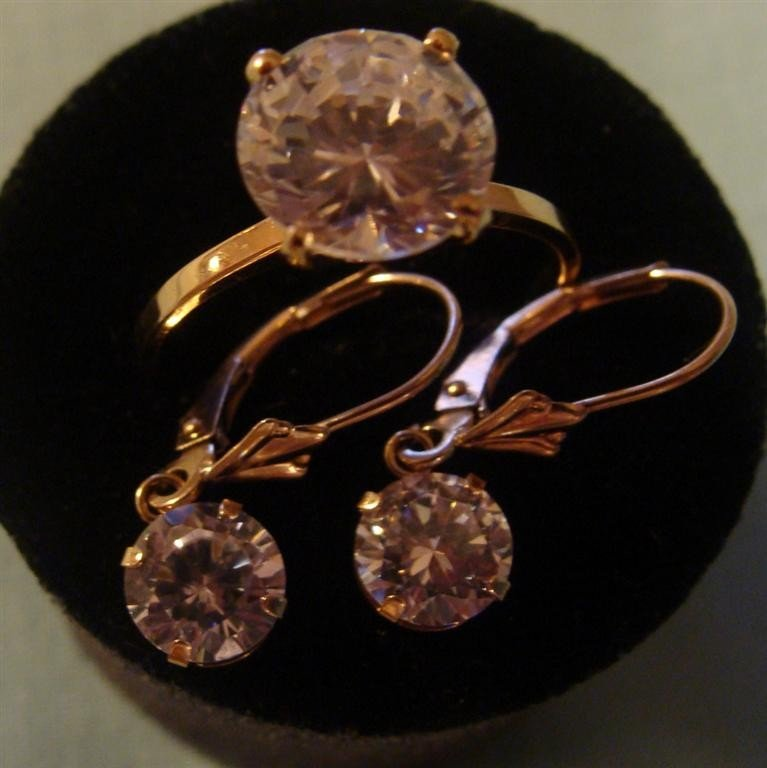 10K&14K Solid Gold Cubic Zirconia Ring & Earr