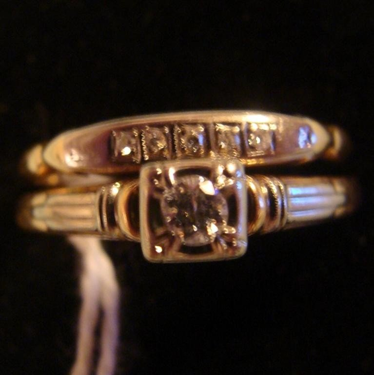 Antique 14K & 18K Gold Diamond Wedding Ring S