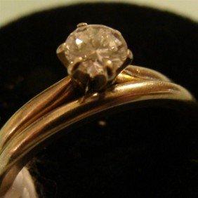 14K Solid White Gold Diamond Wedding Set; Sz