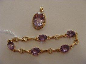14K Yellow Gold Amethyst Bracelet & Pendant.