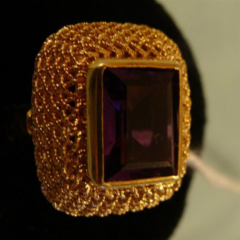 18K Solid Yellow Gold Amethyst Ring - Size 4